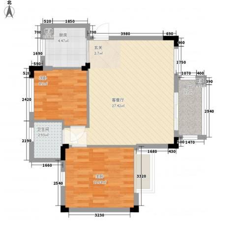 汇景御泉香山2室1厅1卫1厨75.00㎡户型图