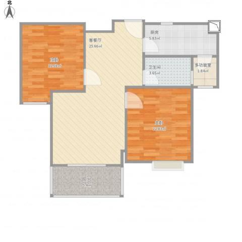 港鑫城2室1厅1卫1厨89.00㎡户型图