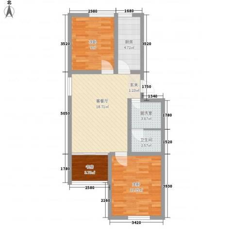 启城3室2厅1卫1厨78.00㎡户型图