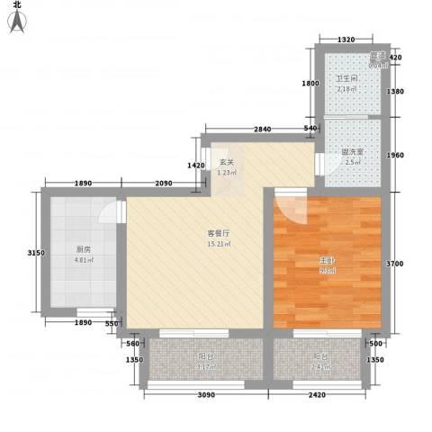 启城1室2厅1卫1厨39.63㎡户型图