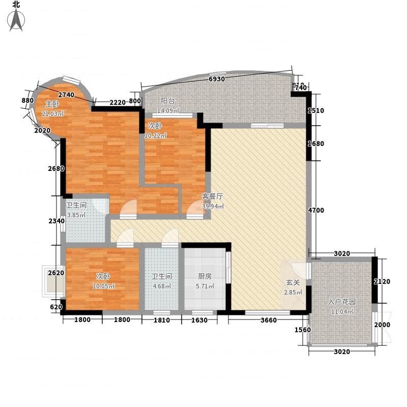 鑫湾潜龙151.00㎡B户型3室2厅2卫1厨
