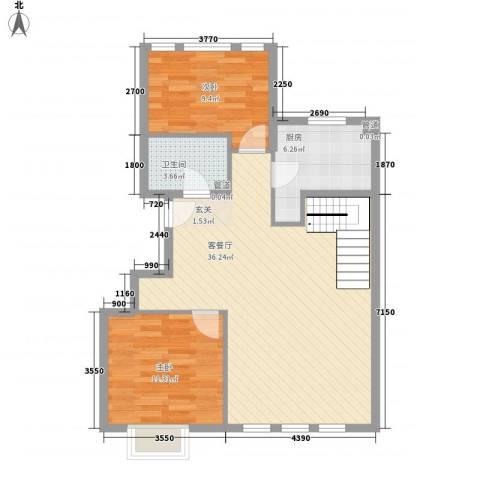 大运河孔雀城2室1厅1卫1厨135.00㎡户型图