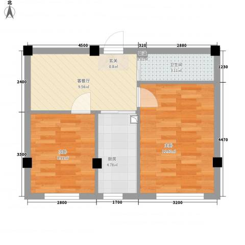 天成雅典2室1厅1卫1厨55.00㎡户型图