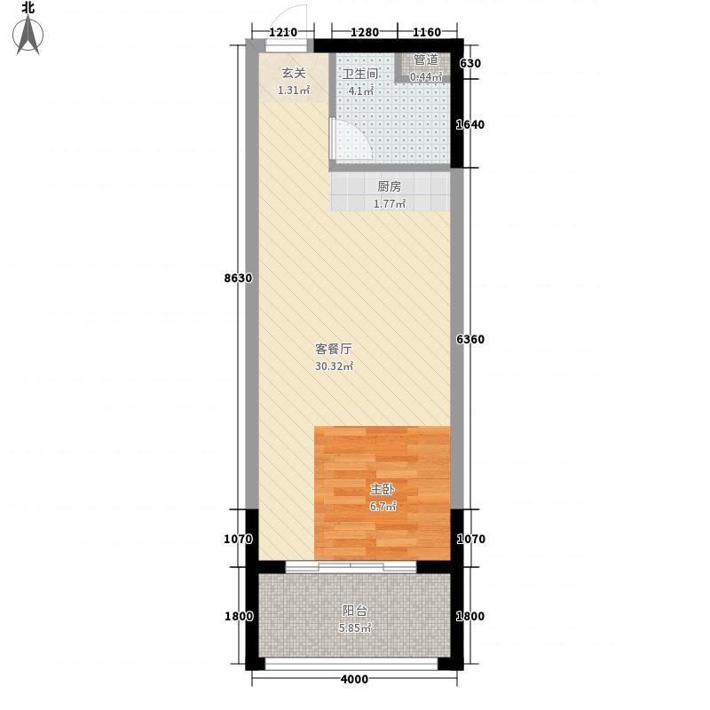 人瑞潇湘国际5.64㎡一期c户型1室1厅1卫