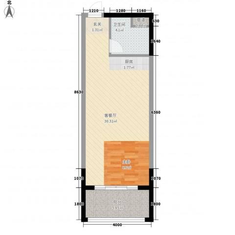 人瑞潇湘国际1厅1卫0厨40.70㎡户型图