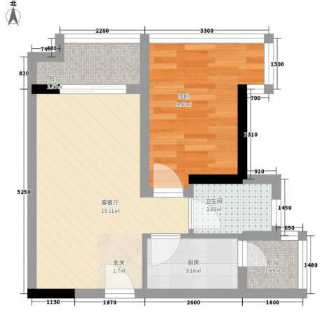 望伟花园1室1厅1卫1厨51.00㎡户型图