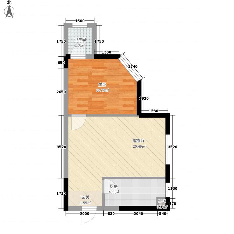 人瑞潇湘国际54.70㎡一期e户型1室1厅1卫