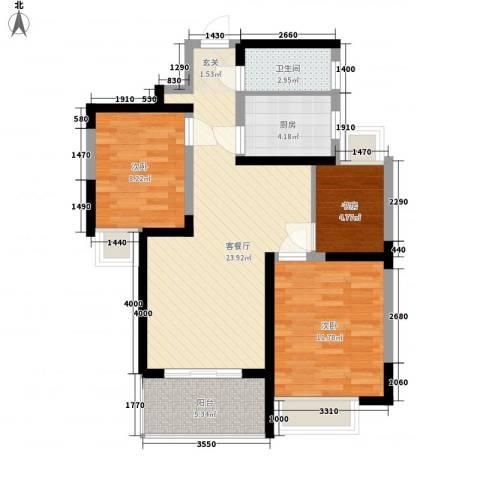 华顺天门湖花园3室1厅1卫1厨89.00㎡户型图
