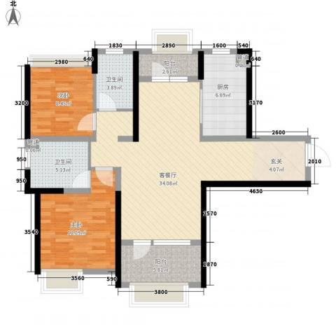 藏珑大连海2室1厅2卫1厨114.00㎡户型图