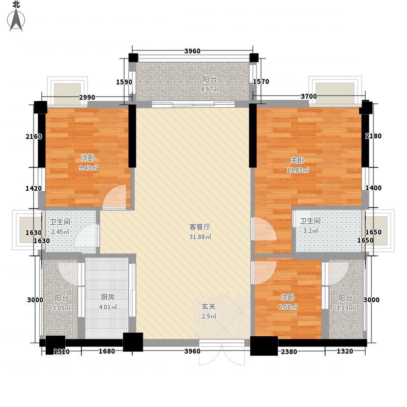 宏达广场11.00㎡B栋03户型3室2厅2卫1厨