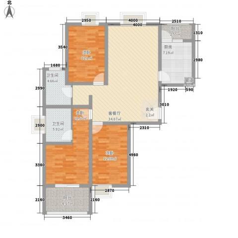 北湖之星3室1厅2卫1厨142.00㎡户型图