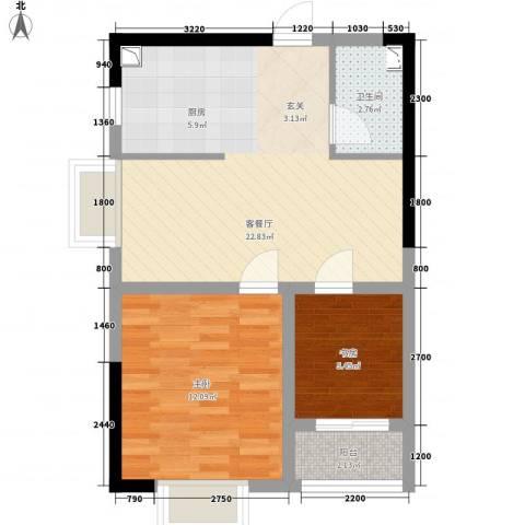 金房玲珑湾2室1厅1卫0厨66.00㎡户型图