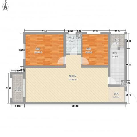 一等海2室1厅1卫1厨77.03㎡户型图
