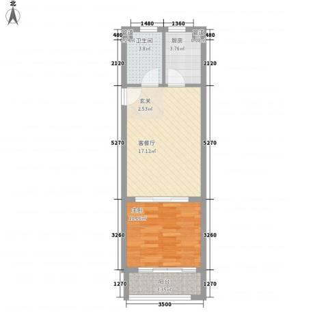 一等海1室1厅1卫1厨56.00㎡户型图