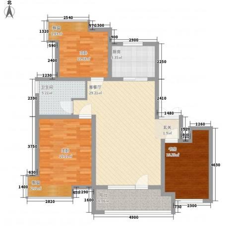 天一海尚阳光3室1厅1卫1厨114.00㎡户型图