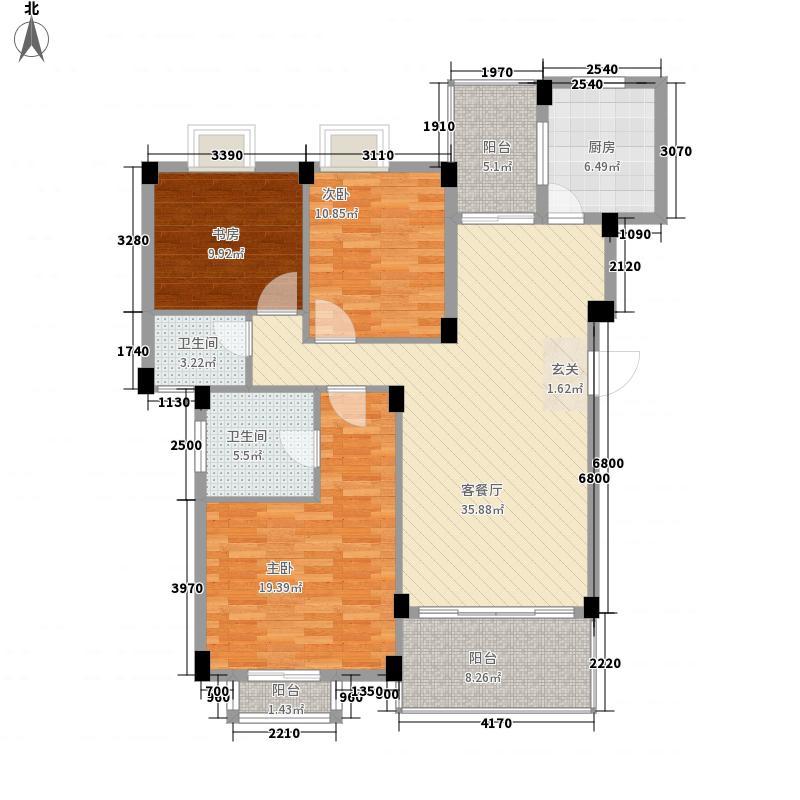 千禧・秀荷花城136.88㎡e栋标准层01户型3室2厅