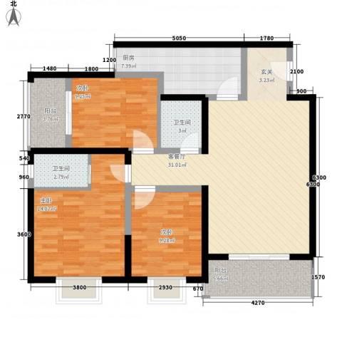 东城夕鹫3室1厅2卫1厨124.00㎡户型图
