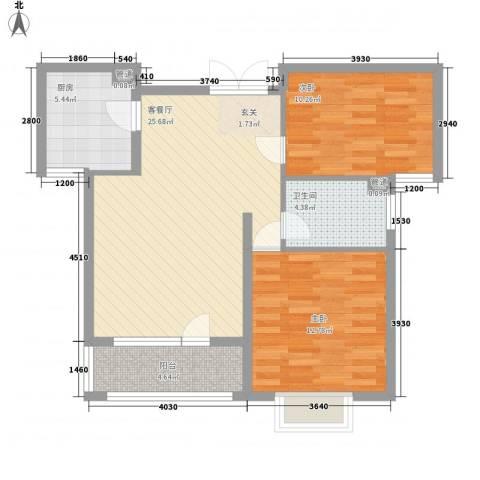 天一海尚阳光2室1厅1卫1厨88.00㎡户型图