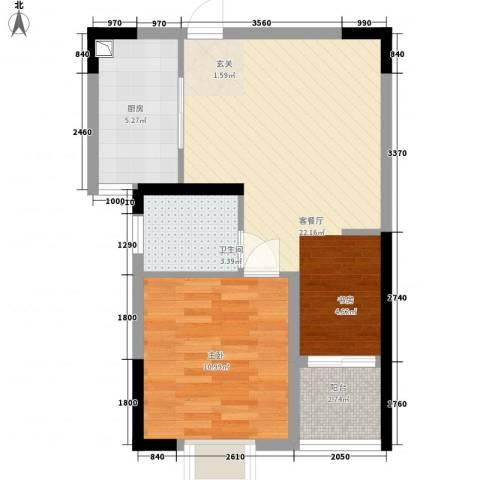 金房玲珑湾1室1厅1卫1厨64.00㎡户型图