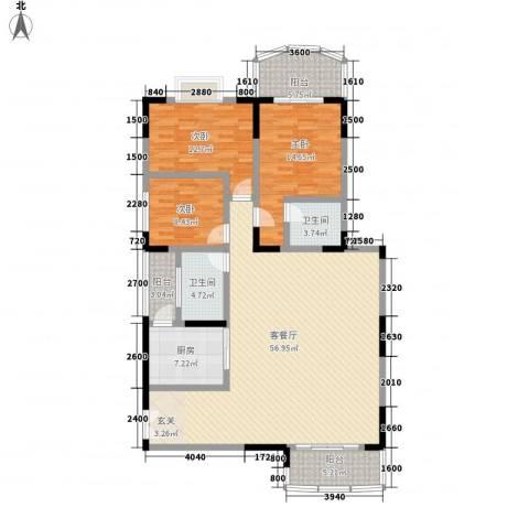 翡翠名都3室1厅2卫1厨151.00㎡户型图