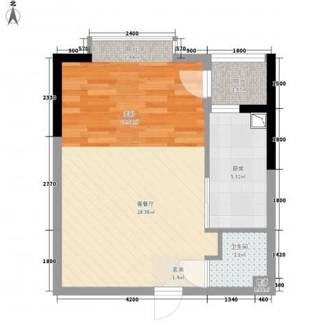 金房玲珑湾1厅1卫1厨53.00㎡户型图