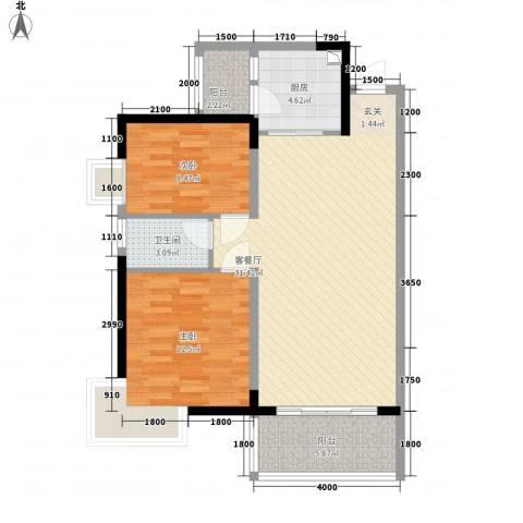 金房玲珑湾2室1厅1卫1厨97.00㎡户型图