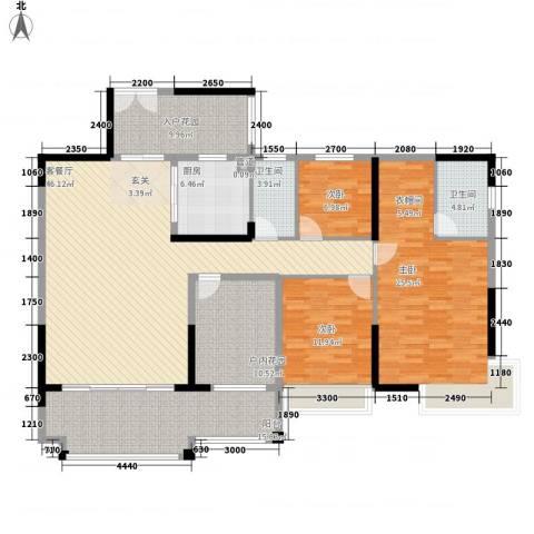 人和春天花园3室1厅2卫1厨164.00㎡户型图