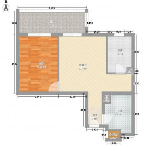 39所1区1室1厅1卫1厨54.42㎡户型图