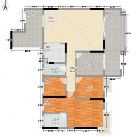 人和春天花园3室1厅2卫1厨161.00㎡户型图