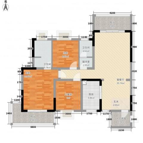 金房玲珑湾3室2厅2卫1厨147.00㎡户型图