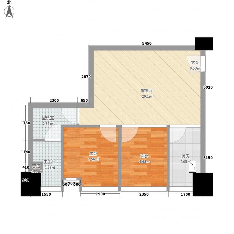 因特摩尔64.00㎡2#楼B3户型2室2厅1卫1厨
