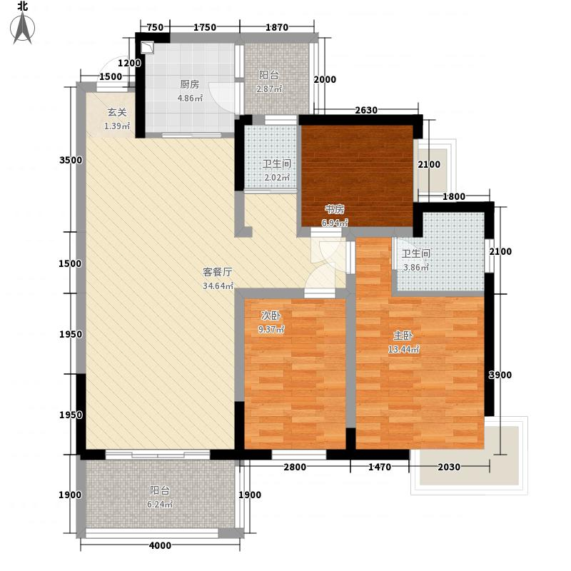 金房玲珑湾A4户型3室2厅2卫