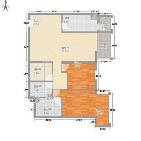 39所1区2室1厅2卫1厨90.31㎡户型图
