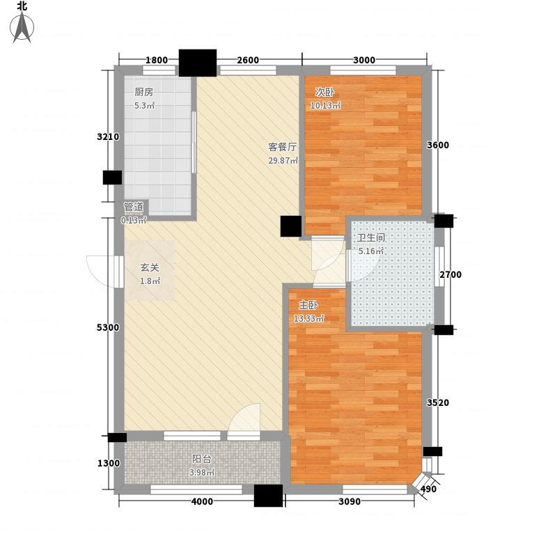 缘中园户型2室2厅1卫1厨
