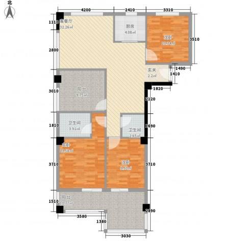财富广场3室1厅2卫1厨98.27㎡户型图