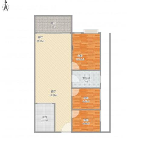 元芬金园大厦3室1厅1卫1厨135.00㎡户型图