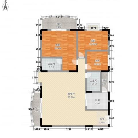 翡翠名都3室1厅2卫1厨137.00㎡户型图