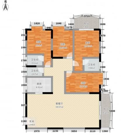 翡翠名都4室1厅3卫1厨151.00㎡户型图
