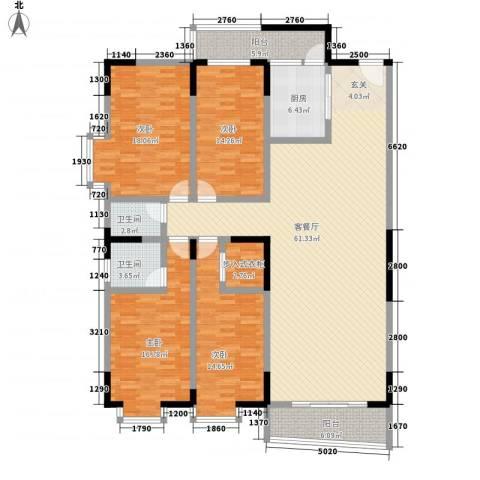 翡翠名都4室1厅2卫1厨162.00㎡户型图