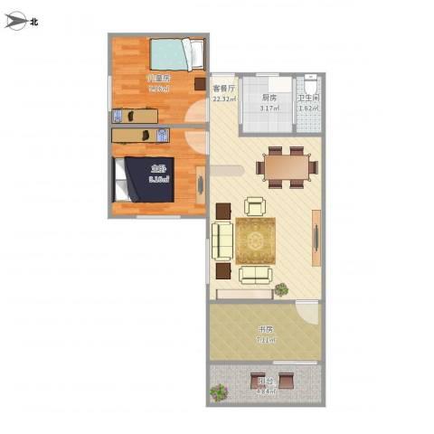 新兴白云花园3室1厅1卫1厨78.00㎡户型图