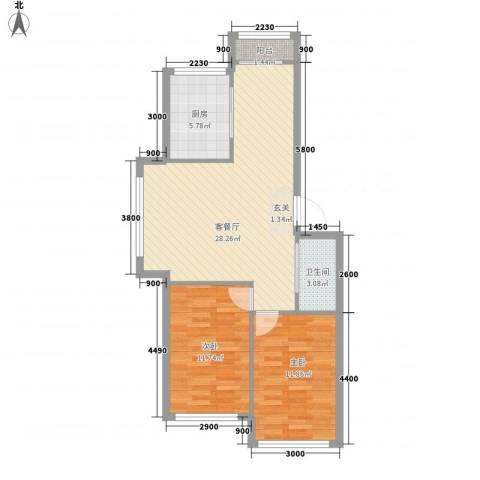 河沿巷2室1厅1卫1厨87.00㎡户型图