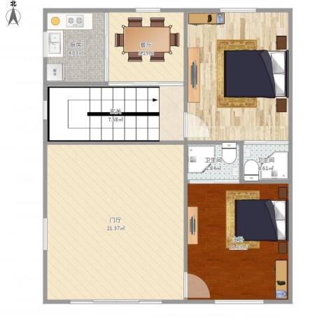 幸福新村2室1厅2卫1厨72.00㎡户型图