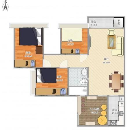 珠江御景湾3室1厅1卫1厨104.00㎡户型图