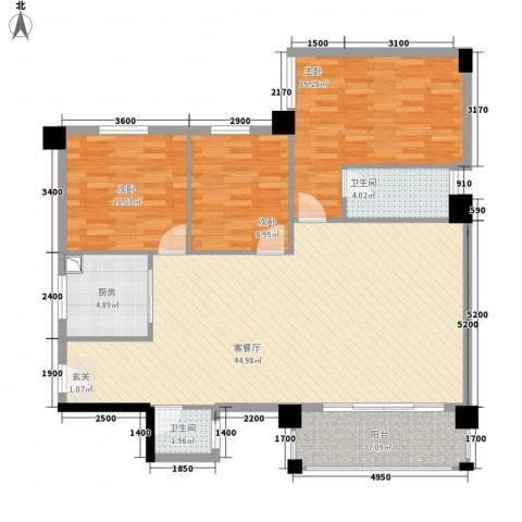 国兆蜜园3室1厅2卫1厨99.32㎡户型图