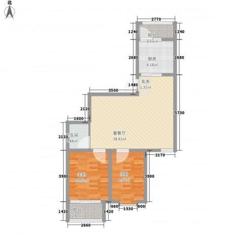天娇园2室1厅1卫1厨76.00㎡户型图