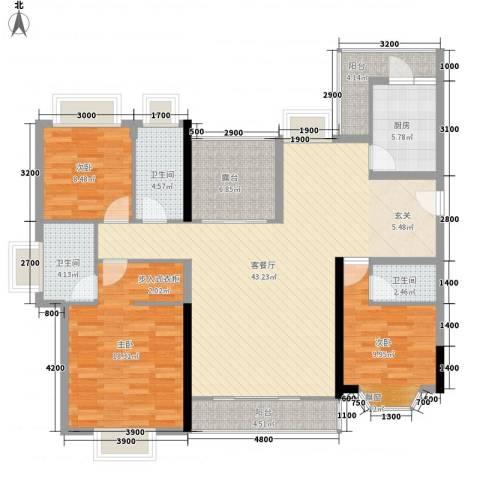 水木清华园3室1厅3卫1厨158.00㎡户型图