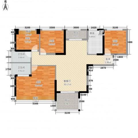 凤雅颂4室1厅2卫1厨116.00㎡户型图