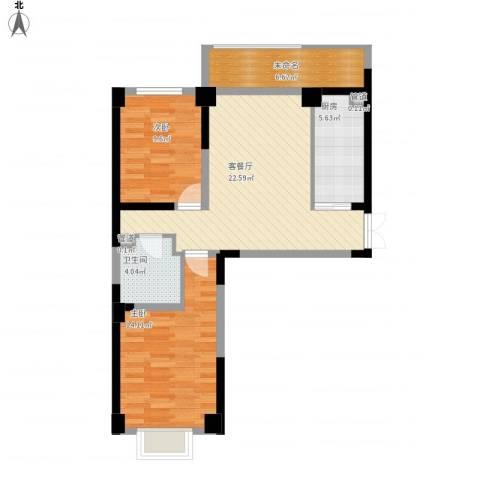 海唐南寒圣都2室1厅1卫1厨92.00㎡户型图