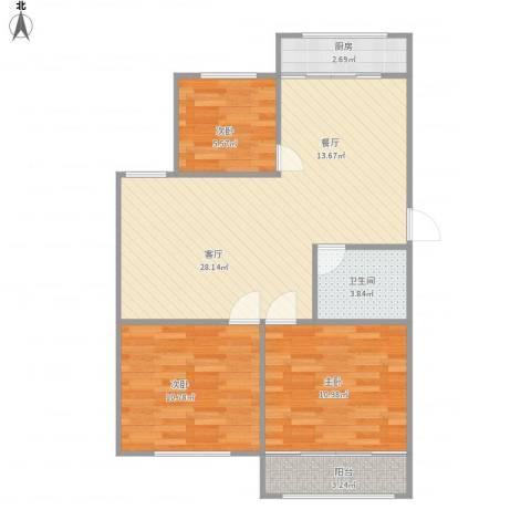 龙岱花园3室1厅1卫1厨88.00㎡户型图