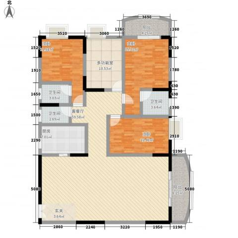 翡翠名都3室1厅3卫1厨176.00㎡户型图